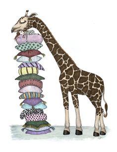Giraffe's Nest  8 1/2 x 11 Illustration Print by SEMillustrations