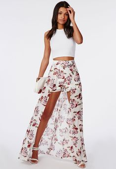 Missguided - Floral Print Shorts With Maxi Skirt Detail