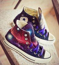 Nueva galaxy universo nebulosa converse all star zapatos pintados a mano del top del alto zapatillas de lona hombres de las mujeres de regalos únicos de navidad(China (Mainland))