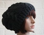 Chunky knit cable beanie in Charcoal Grey/Slouchy Beanie/Knitted hat/Beanie hat