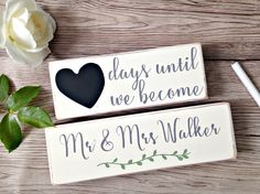 Personalised Wedding Countdown Blocks - Engagement Gift - Wedding Wooden Blocks - Countdown Gift - Gift for Friend - Newly Engaged - Wedding by BobbyLovesRosie on Etsy