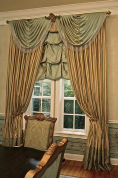 layered ballon valence-open swags- drapery panels with contrast bottom- House Parts drapery hardware-silk fabric--Sheri Stouffer/Finishing Touches-window treatments-Denver-Castle Pines-Castle Rock-Highlands Ranch-