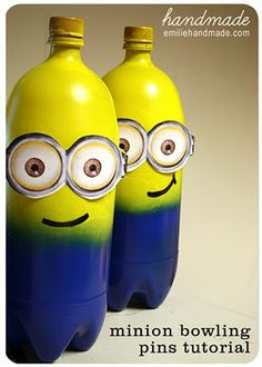 Minion Bowling Pins....i drew the eyes and mouth on and used electric tape to be the sides of the goggles! 'o] 11-08-2012 HAPPY BIRTHDAY TO MY HUSBAND, amc