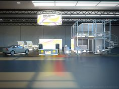 Architectural Visualization of the Nokia Siemens tradeshow booth.