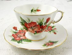 Hibiscus Tea Cup and Saucer, Vintage Bone China, by Oakley China, Made in England