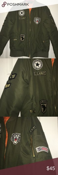 Misguided badge army bomber jacket size M Misguided army green patches and badges worn 2x. Sz M. lining polyester.  inside quilt 100 polyester misguided Jackets & Coats Puffers