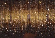 In her most recent works Kusama continues to create reflective interior environments. Fireflies on the Water (2002) consists of a small room lined with mirrors on all sides, a pool in the center of the space, and 150 small lights hanging from the ceiling, creating a dazzling effect of direct and reflected light, emanating from both the mirrors and the water's surface. Fireflies embodies an almost hallucinatory approach to reality, while shifting the mood from her earlier, more unsettling…