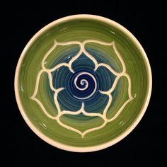 Green Blue Porcelain Lotus Bowl on Etsy