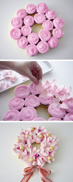 Cupcake Wreaths #christmas #diy #food #wreaths http://thecakebar.tumblr.com/post/71013732685/christmas-cupcake-wreath-tutorial-click-link-for
