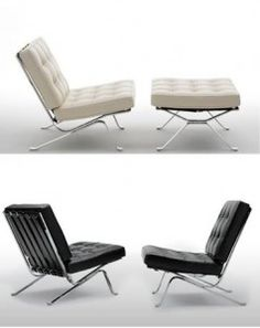 Barcelona Chair and Ottoman, desined 1929, Ludwig Mies van der Rohe, Germany  (Happy 126th Birthday Mies!)