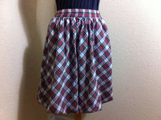Vintage Red and Blue Plaid Bubble Skirt by VintageBaublesnBits, $10.00