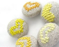 Yellow Hearts - Hand Embroidered Buttons