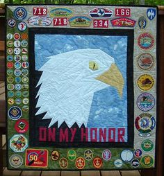 Eagle Scout Quilt.  Very cool. Would be fun to come up with a YW personal progress quilt, too. In some way that memorialized each if the value projects.