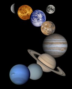 Solar System Montage  This is a montage of images taken by spacecraft. Included are (from top to bottom) Mercury, Venus, Earth (and Moon), Mars, Jupiter, Saturn, Uranus and Neptune.    Image Credit: NASA/JPL