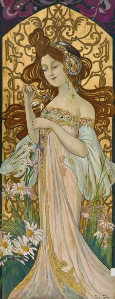 Antique Mary Golay ''He Loves Me, He Loves Me Not'' Lithograph French art nouveau woman chromolithogr. on Nov 2017 Art Nouveau Design, Art Deco, He Loves Me, French Art, Arts And Crafts, Auction, Mary, Vintage Illustrations, Antiques