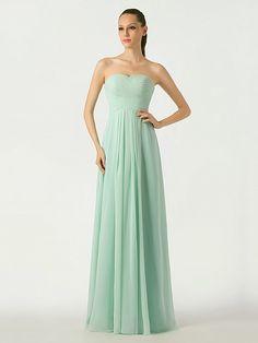 Rosangela - Mint Sweetheart Chiffon Bridesmaid Dress with Lace Up Back