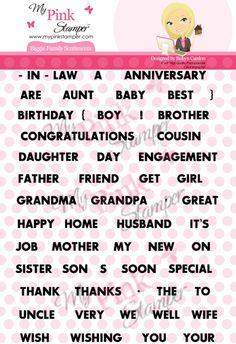 My Pink Stamper Biggie Family Sentiments Large Stamp Set
