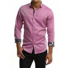 Grey gingham button down shirt with fuschia check trim $169.00 ...