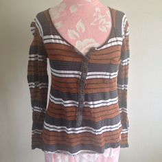 Free People Blue White Metallic Bronze Striped Button Henley Distressed Top XS #FreePeople #Blouse #Casual