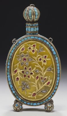Gemset Perfume Bottle -- Circa 1800 -- Delhi, India