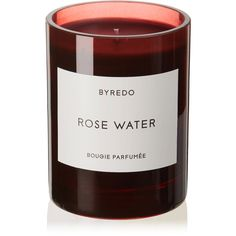 Byredo Rose Water scented candle, 240g ($80) ❤ liked on Polyvore featuring home, home decor, candles & candleholders, red, scented candles, rose scented candles, glass vessel, red home decor and rose candle
