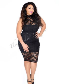 Fitted Lace Overlay Dress, $48.99 by Thick Chic Boutique . I need this dress to get back in stock asap
