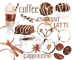 """Watercolor coffee clipart: """"SWEETS CLIPART"""" Coffee bean clipart  Coffee Mug Sweets clip art Artistic Late Clipart Coffee stains clip art"""