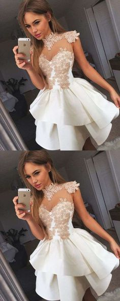A-Line High Neck Dresses,Short Homecoming Dresses 2017,White Illusion Prom Dresses,Cute Tutu Dresses