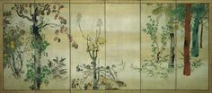 'Autumn Plants' (18th century). One of a pair of six-panel folding screens. Ink, colour and gold on paper in the style of 	Watanabe Shikô (Japanese, 1683–1755).Image and text text courtesy MFA Boston.