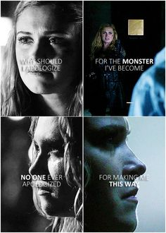 *cough* lexa - I never meant to turn you into this *cough* The 100 Cast, The 100 Show, It Cast, Clarke The 100, Clarke And Lexa, Photomontage, The 100 Quotes, The 100 Clexa, The Hundreds