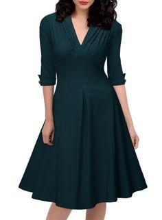 Miusol® Women's Retro Deep-V Neck Half Sleeve Vintage Casual Swing Dress at Amazon Women's Clothing store: