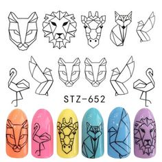 Animal Cartoon Designs Water Stickers For Nails Black Manicure Nail Art Decorations Sticker Water Decals Tips Animal Nail Designs, Animal Nail Art, Nail Art Designs, Black Manicure, Manicure E Pedicure, Polygel Nails, Bling Nails, Finger, Nail Art Stickers