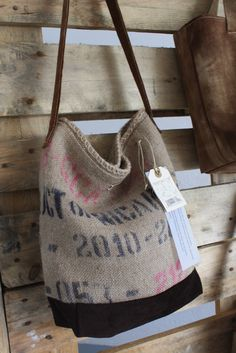 with burlap coffe bags