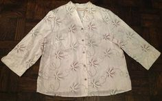 Alfred Dunner Embroidered Sequined Cotton Top Plus Sz 16W $14.99 eBay