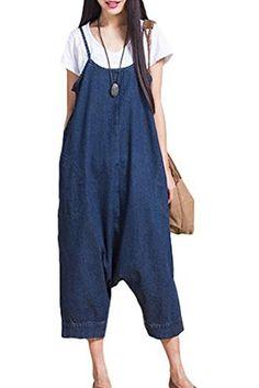 Mordenmiss Women's Denim Rompers Wide Leg Pants Strapless Jumpsuit Blue