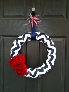 Navy Chevron Patriotic WreathRed FlowersSale by PolkadotsOriginals