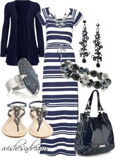 """Navy and White dress"" by wishesndreams on Polyvore"
