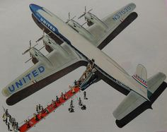 All sizes | 1950s UNITED AIRLINES Vintage Advertisement Illustration Airplane Red Carpet | Flickr - Photo Sharing!