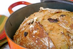 We've adapted this no-knead homemade bread recipe from San Francisco-based cookbook author and cooking teacher Penni Wisner's foolproof formula. A long fermentation and baking the bread in a preheated Dutch oven yields artisanal results at home. You can play with different mix-ins--sub golden raisins and walnuts for the olives and rosemary,