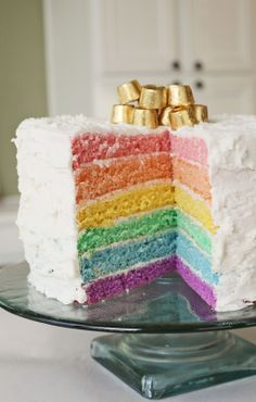 I have to say I am obsessed with rainbow cakes.  :)