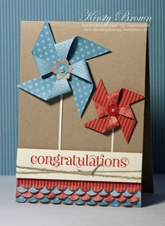 Cute pinwheel card - on Stampin Up Crumb Cake cardstock.