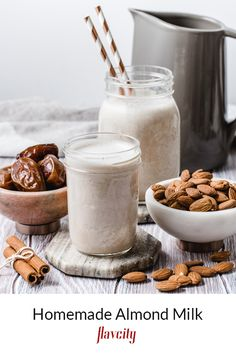 I'm not sure if you guys know this, but store bought almond milk only has about almonds per cup, the rest are emulsifiers like lecithin and guar gum. Homemade almond milk does cost more money and it takes a bit of time, but the flavor and texture are u Chocolate Almond Milk, Make Almond Milk, Almond Milk Recipes, Homemade Almond Milk, Almond Pulp, Nut Milk Bag, Sans Lactose, Strawberry Milk, Recipes