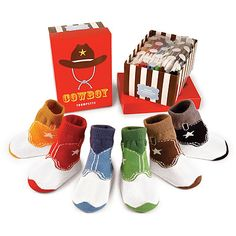 COWBOY INFANT SOCKS - SET OF 6   Baby Cowboys Colorful Boots Sock Set Of Six - Western, Country, Wild West, Fun, Cute   UncommonGoods