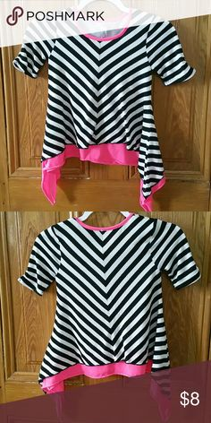 Black, White, Pink Striped Top by Beautees. Size S Hello Posh Community! This is a cute Black and White Striped Top with Pink by Beautees. This top is a size Small. It's in great condition. Please look at photos. Thanks for looking. Beautees Shirts & Tops