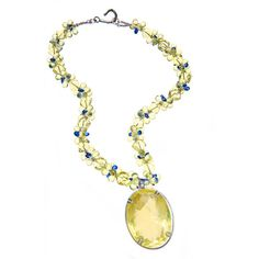 Preowned Lemon Citrine Pendant Necklace Lemon Quartz And Blue Kyanite ($5,200) ❤ liked on Polyvore featuring jewelry, necklaces, blue, drop necklaces, lemon quartz jewelry, blue drop necklace, drop pendant necklace, lemon necklace and pendant necklaces