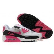 brand new eabcf 4e05a Femme Nike Air Max 90 Blanc Noir Rose Nike Trainers, Nike Sneakers,
