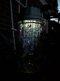 Garden fairy lights - some solar powered lights, mason jars & beads and you have a gorgeous light!