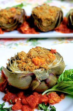 Cashew Stuffed Artichokes from Jazzy Vegetarian's Deliciously Vegan – Robin Robertson