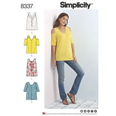 Simplicity 8337 Misses' Knit Tops with Bodice and Sleeve Variations sewing pattern
