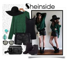 """""""Green Knit Sweater Shein"""" by isis-anubis5 ❤ liked on Polyvore featuring Bling Jewelry, Juvia, True Religion, Monki, Longchamp and Karen Walker"""